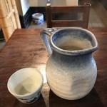 二八そば砂場 - 蕎麦湯。 美味し。