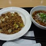 刀削麺 湘苑 - 料理写真:焦がし醤油炒飯と半ラーメンのセット