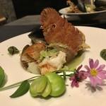 gyokaikozarawashokuichiyoshi - 三重県草履エビ春キャベツスープ仕立て ムール貝そら豆