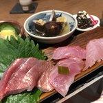 地きんめ鯛専門 銀座 はなたれ - ◆酒肴三種盛り合わせ ◆地きんめ鯛お造り食べ比べ四種盛り合わせ