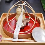 御料理 貴船 - 茅の輪くぐり 瓢箪の器 シラス 山椒 ピーマン つる豆の白和え