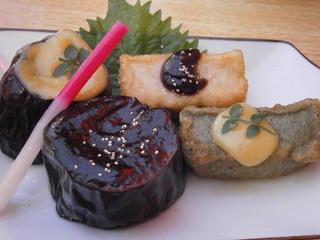 山とみ - あちき的オススメ 京のおばんざいセット 揚げ物 白味噌・黒味噌茄子、生麩2種