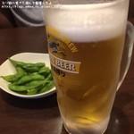 しょうじゅ亭 - 生ビールと付きだしの枝豆