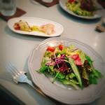 杢 - サラダと前菜(生ハムのポテサラ&タコのカルパッチョ)
