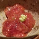 87777484 - ⑨鱒子(北海道野付産)                       鱒子は粒が小さくて塩漬けなので最初は塩みがやや目立つのですが、しばらくすると爽やかな甘みが口の中に拡がります。                       鮭の筋子やイクラも濃くて美味しいけれど鱒子も美味しいですね。