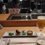 鮨菜旬炉料理 笑和 - 生ビールと付け出し