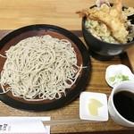 手仕事屋 - ミニ天丼セット(蕎麦大盛り) 1,750円