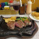 ステーキハウス88 - テンダーロインステーキ200g+グラスワイン赤(2,484円+540円))
