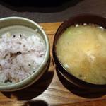 ふくみつ華山温泉 - 五穀米とあら汁