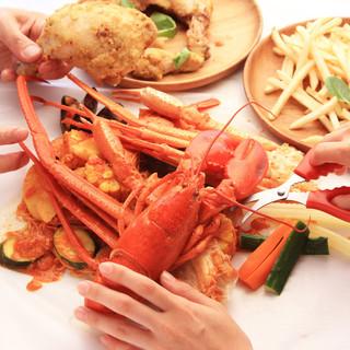 【食事は五感で楽しむもの】エリア初♪手づかみOK肉海鮮コース