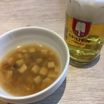 87812717 - ランチセットのスープとビール