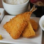 よいまち食堂 - ハムカツ&あじフライ定食