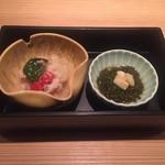 堂島雪花菜 - 【先付け】 ・豚肉、キャベツ、茄子、パプリカの塩麹煮 ・林檎モズク