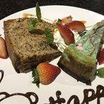 エムナチュール - 左) りんごと紅茶のパウンドケーキ 右)チョコミントチーズケーキ #一休プラン #ディナー #5品 2018/06/18(月)訪問