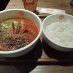 87836982 - ランチの麺(鬼・坦々麺のもっともっと辛く)+ご飯(大盛り)