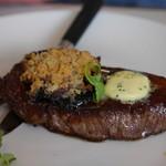 87837576 - 10oz. Salt Dry Aged Striploin Steak, Celeriac Puree, Flatcap Mushroom, Red onion jam