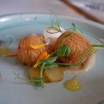 87837734 - Local Goats cheese, , Goat's Ice Cream, Pineapple, Burnt Onion, Pickled Shallot