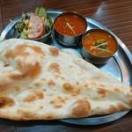 南インド料理 マハラニ - レディースランチ800円  左:キーマ  右:野菜