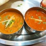 南インド料理 マハラニ - レディースランチ800円  右:キーマ  左:野菜