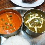 南インド料理 マハラニ - happyランチ1150円  左:エビ  右:ほうれん草チキン
