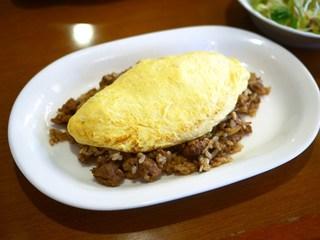 キッチン亀 - バーグきのこのオムライス ¥920