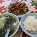 大味 - 豚肉となすの味噌炒め,半ライス(わかめスープ,漬物付き)