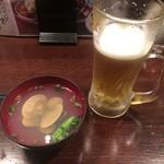 魚浪人 - 生ビールとハマグリのお吸い物