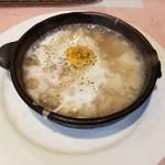87877140 - 生鮭のバター焼きSetのにんにくスープ