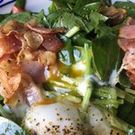 ピザ ハウス モッコ - ほうれん草とトロトロ卵のサラダ           〜カリカリベーコンのガーリック風味〜