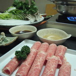 日本料理 一石 - 牛しゃぶしゃぶコース(3150円)目の前で肉をスライサーで!!