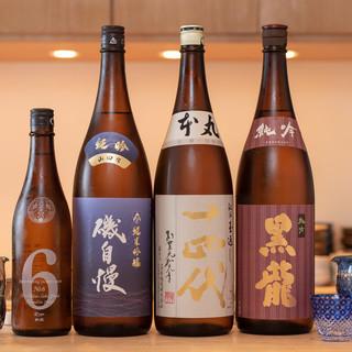 十四代・磯自慢・黒龍など。旬魚と楽しむ日本酒を厳選。