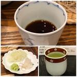 手打そば 一の梅 - ◆つゆは、甘味が強すぎず美味しいですが、相変わらず少ないですね。(^^;) ◆薬味 ◆そば茶