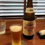 87924688 - 生垣の剪定で沢山汗をかいたので、ご褒美の瓶ビール