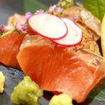 鮭バル SalmonBear - 20180620紅鮭の刺身(炙り)