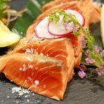 鮭バル SalmonBear - 20180620紅鮭の塩たたき フランス産の天然塩で