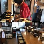 とんかつ家 比呂野 - お持ち帰りのお弁当を仕込むスタッフと店内