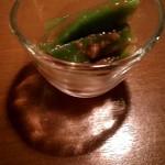 87935997 - 茎レタス梅肉和え すっぺぇー!(๑°⌓°๑)