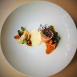 B - 料理写真:仔羊背肉のロティ オッソーイラティーのムースとジロール茸