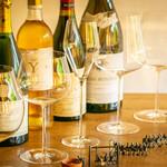 フランス産グラスワインと日本酒をグラスで