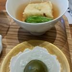 87950910 - 揚げ出し胡麻豆腐と、青梅の甘露煮。