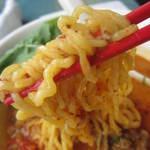 8798052 - 麺のアップ。お箸も赤くてオシャレ。