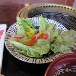 焼肉 海王 - 定食にはサラダがセットになってたんで先ずは此方をいただきました。