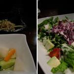 酒家鶏処 炭寅 - お通しとアボカドサラダ