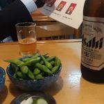 燕楽 - 枝豆、ビール