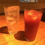 肉小屋 - 自家製ジンジャーサワーとトマト杯 サワー類は480円