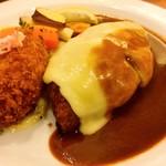 キッチン ノム - ハンバーグ(+チーズ)&蟹クリームコロッケ