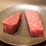 神楽坂 鉄板焼 中むら - 料理写真:田村牛(但馬牛)の40ヶ月熟成のサーロイン と 川岸牛(神戸牛)のシャトーブリアン