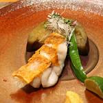 88062251 - 甘鯛の鉄板焼 賀茂茄子の含め煮 万願寺唐辛子、白髪葱、酢橘、白玉味噌を添えて