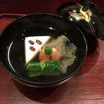 和 あすか - 椀物/海老真丈、菜葉、むきエビ、白舞茸