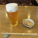 くりはら - 生ビール・蕎麦チップス